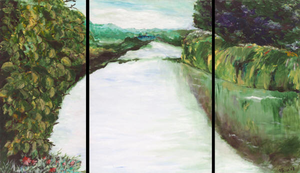 Down the River - triptych